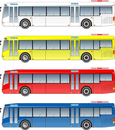 passenger buses: autobuses urbanos gr�fico Vectores