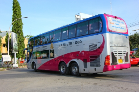 Bus route bangkok and chiangmai, Double deck bus class 1(Pink VIP), Extra large seat , aircondition and restroom. Service include food and drink. Best bus transport in thailand.
