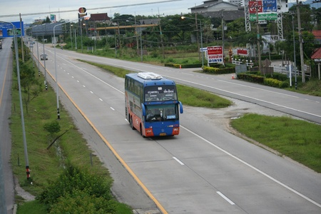 Bus route bangkok and chiangmai, Double deck bus class 2, seat and aircondition except food and other service, for save transport in thailand  Stock Photo - 16744611