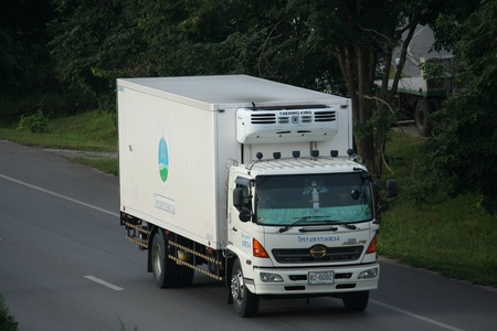 Trailer truck, fresh food container. Editorial