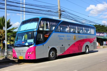 Bus route bangkok and Lampang, power by Gas ngv or cng.  Editorial