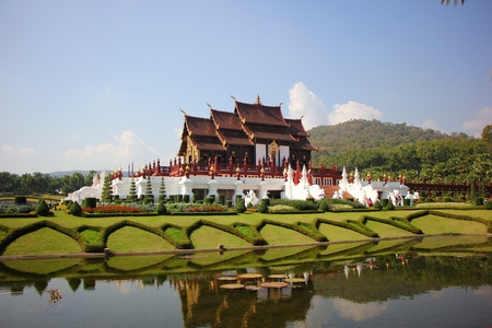 Royal pavilion ( (Ho Kum Luang) in traditional Lanna style at Royal Flora Ratchaphruek Exhibition in Chiang Mai, Thailand