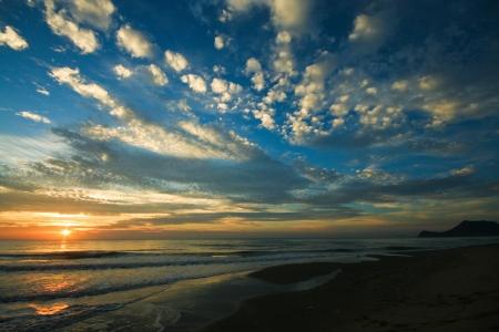 Sunrise at pranburi beach, thailand