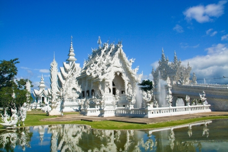 The famous temple of thailand, Wat Rong Khun White temple  photo