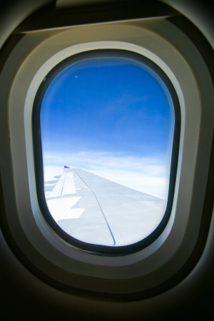 View through an airplane window photo