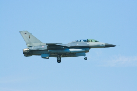 F-16B Fighting Falcon of Royal Thai Air Force landing to Chiangmai airport, after battle of annual training.