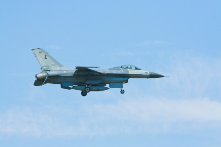 F-16A Fighting Falcon of Royal Thai Air Force landing to Chiangmai airport, after battle of annual training.