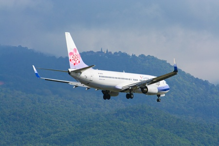 Boeing 737-800 of china airline, flight between chiangmai and taipei. Photo from chiangmai airport, thailand.