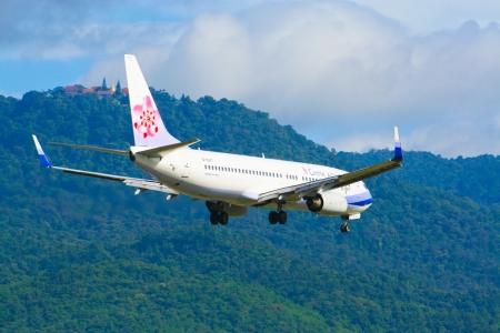 747 400: Boeing 737-800 della compagnia aerea China, volo tra Chiangmai e Taipei. Foto dall'aeroporto di Chiang Mai, Thailandia. Editoriali