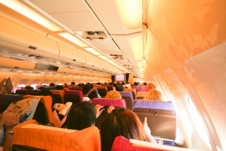Cabin photo of Airbus a300-600 thaiairway. photo inflight from chiangmai to phuket airport.