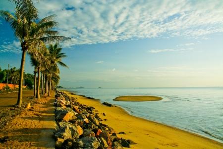 Morning light and coconut tree at Pranburi beach, thailand photo