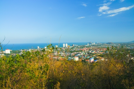 Bird eye view of hau hin city, Thailand  photo