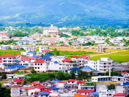 Bird eye view of Tachileik city, Myanmar photo