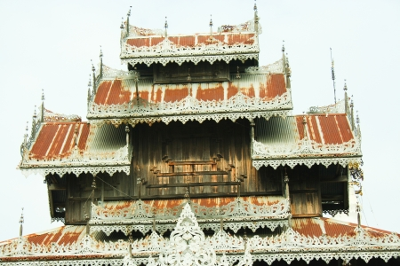 grand son: White pagoda and myanmar architecture at  Doi kong mu temple, Maehongson province, north of Thailand