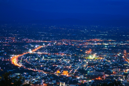 Night photo bird eye view of Chiangmai city, thailand photo