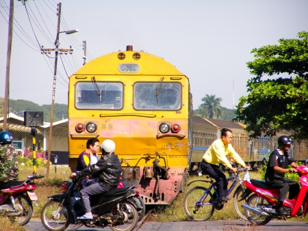 Busy train and motercycle, chiangmai train station