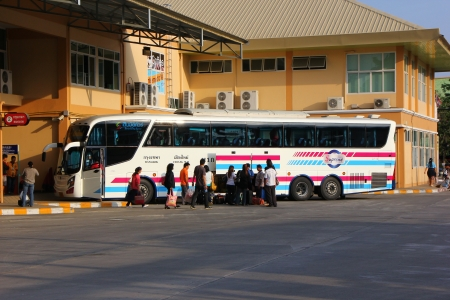 Bus and passenger, chiangmai bus station Editorial