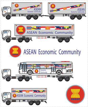 Asian flag on truck