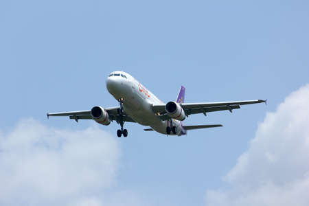 Airbus A320-200 of Thaismile airline, HS-TXD landing to chiangmai airport, from phuket  Editorial
