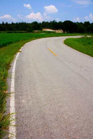 Road and green field, north of thailand photo