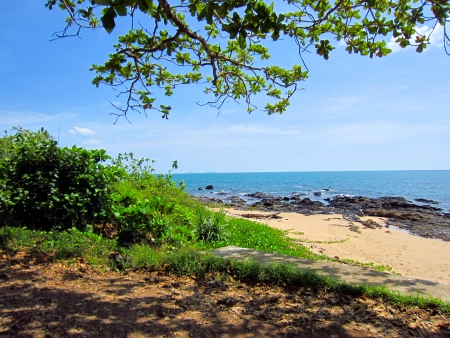 Beautiful tropical rock beach on lanta island, krabi thailand photo