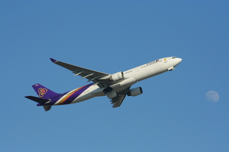 HS-TEF of Airbus A330-300 Thaiairway, Photo from chiangmai airport