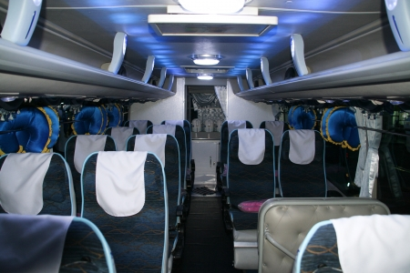 inside of a bus with seats