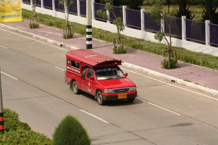 Red taxi for chiangmai city, thai call song taew