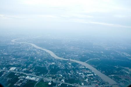 Bird eye view of bangkok city, thailand  photo