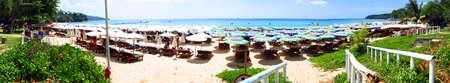 phuket province: Panorama of Surin  beach, phuket thailand    Stock Photo