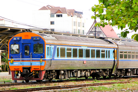 THAILAND   CHIANGMAI - MAY  19 2013  Daewoo Diesel railcar no 2535 and train no 12 at chiangmai railway station, Train from chiangmai to bangkok, thailand