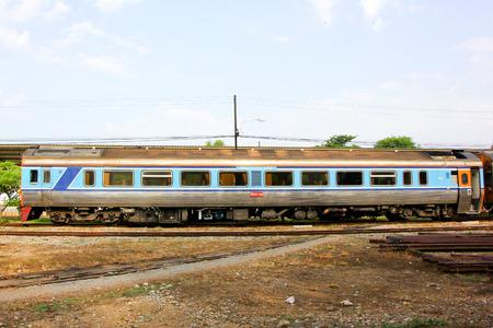THAILAND   CHIANGMAI - MAY  19 2013  Daewoo Diesel railcar no 2535 and train no 12 at chiangmai railway station, Train from chiangmai to bangkok, thailand