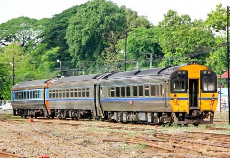 THAILAND   CHIANGMAI - MAY  19 2013  Daewoo Diesel railcar no 2534 and train no 12 at chiangmai railway station, Train from chiangmai to bangkok, thailand