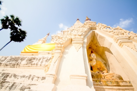 White Triangle Pagoda at ancient buddhist temple  Wat Chedi Liam  at Wiang Kum Kam, Chiangmai Thailand