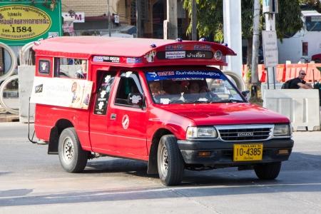 CHIANGMAI    THAILAND - JANUARY 29 2014  Red taxi chiangmai, Service in city , thailand
