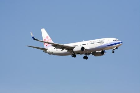 CHIANGMAI    THAILAND - June 7 2007  B-18609 Boeing 737-800 of  China airline  Landing to Chiangmai airport from taipei