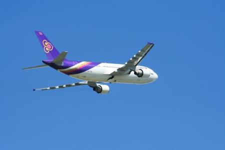taz: CHIANGMAI, THAILAND - MAY 17 2009  HS-TAZ Airbus A300-600 of Thaiairway  Takeoff from Chiangmai airport to Bangkok Suvarnabhumi, thailand   Editorial