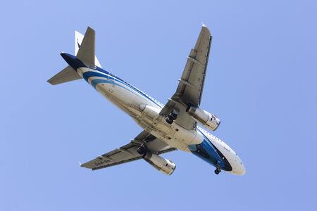 CHIANGMAI   THAILAND - FEBRUARY  5 2014   HS-PPC Airbus A319-100 of Bangkokairway  landing to Chiangmai airport from Bangkok Suvarnabhumi, thailand