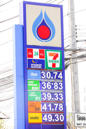 CHIANGMAI ,  THAILAND – MARCH   5  2014  Petroleum Authority of Thailand  PTT  Price oil Board