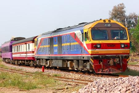 CHIANGMAI, THAILAND - MARCH  5  2014  Hitachi locomotive no 4519 for train no 14 from chiangmai to Bangkok  Photo at chiangmai railway station