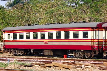 bogie: CHIANGMAI, THAILAND - MARCH  5  2014  Bogie third Class Day Coach no 1038 for train no 52, from chiangmai to bangkok  Photo at Chiangmai railway station