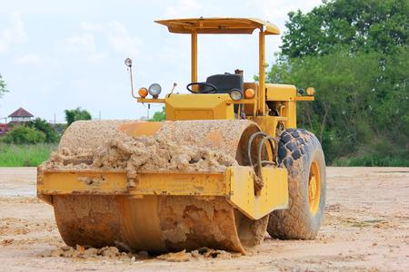 vibroroller: Soil compaction machine Stock Photo