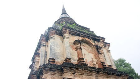 wat jedyod: Vintage old pagoda in wat jedyod, chiangmai thailand  Stock Photo