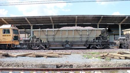 bogie: CHIANGMAI, THAILAND - NOVEMBER 15 2013  Bogie Hopper Wagon no 42041 of State railway of thailand  Photo at Chiangmai Train Station  Thailand