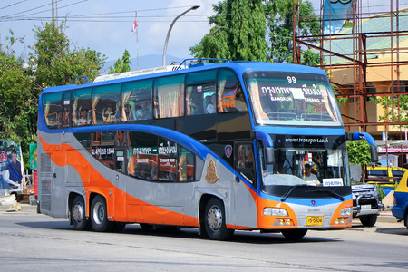exclude: CHIANGMAI, THAILAND - MAY 24 2014  Scania bus of  Transport government no 18-1844 route Bangkok  and Chiangmai, Class 2 Price exclude food and drink, not restroom  Photo at Chiangmai bus station