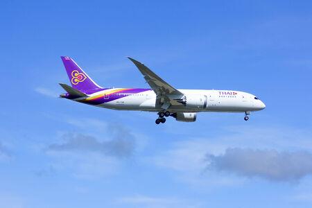 CHIANGMAI , THAILAND- JULY 25 2014  Boeing 787-800 Dreamliner HS-TQA of Thaiairway First of 787 for Thaiairway Photo shot of landing to Chiangmai airport from Bangkok Suvarnabhumi, thailand