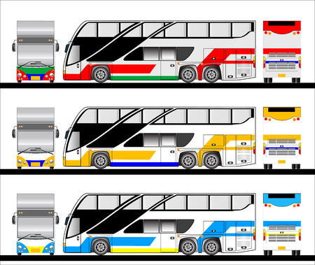 long distance: Bus vector , Tour bus for long distance transportation  Illustration