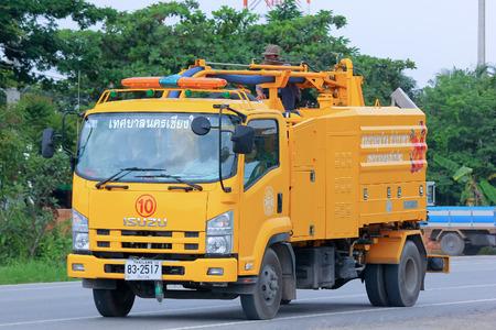 CHIANGMAI , THAILAND - AUGUST 18  2014  Sewage clean truck of ChiangMai Municipality Photo at road no 121 about 8 km from downtown Chiangmai, thailand  Redakční