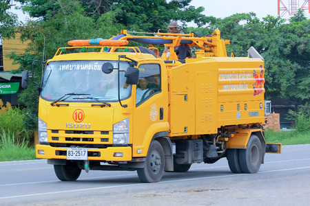 CHIANGMAI , THAILAND - AUGUST 18  2014  Sewage clean truck of ChiangMai Municipality Photo at road no 121 about 8 km from downtown Chiangmai, thailand  報道画像