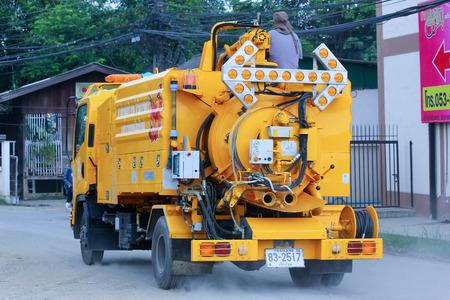 CHIANGMAI , THAILAND - AUGUST 18  2014  Sewage clean truck of ChiangMai Municipality Photo at road no 121 about 8 km from downtown Chiangmai, thailand